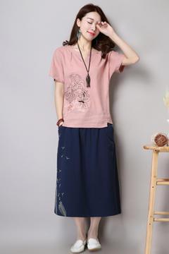 6611粉色上衣-藏青色裙子(长期主推)
