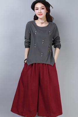 A8267灰色上衣-红色裤子