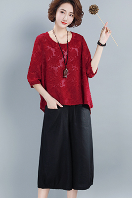 9106红色上衣+黑色+吊带白色