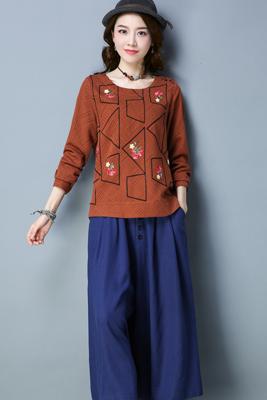 A8141褐色上衣-藏青色裤子