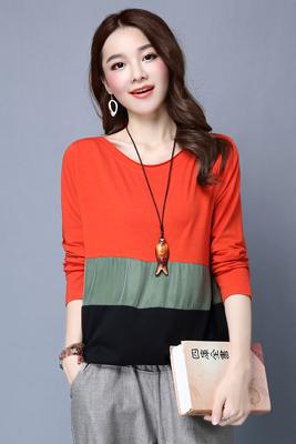8811橘红色长袖上衣