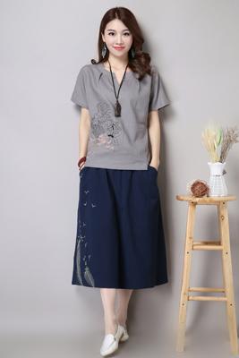 6611灰色上衣-藏青色裙子(长期主推)