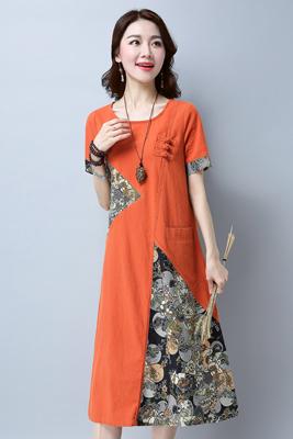 0952连衣裙橘红色