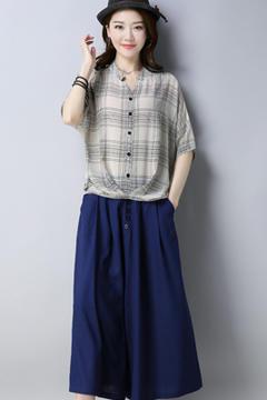A8186套装灰色上衣-藏青色裤子