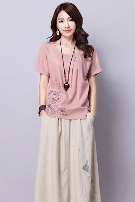 8539粉色上衣-米黄色裙子