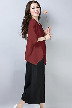 001枣红+黑色套装