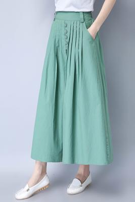 Q01豆绿色半身裙