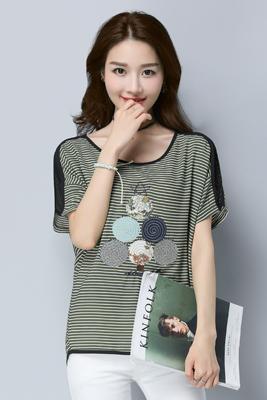 0966雪纺T恤墨绿横条纹