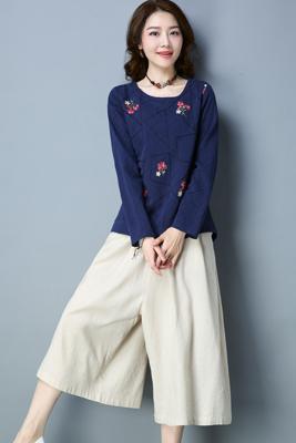 A8141藏蓝色上衣-米白色裤子
