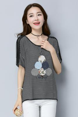 0966雪纺T恤黑横条纹