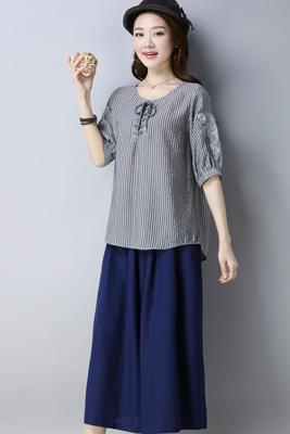 A8185套装灰色上衣-藏青色裤子