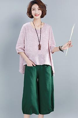 9106粉色上衣+绿色裤+吊带白色