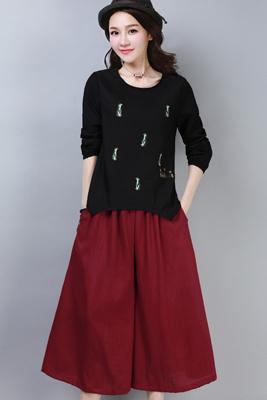 A8267黑色上衣-红色裤子