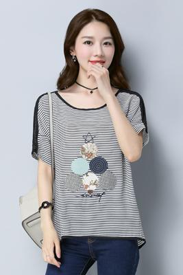 0966雪纺T恤白横条纹