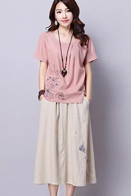 9103粉色上衣+米黄色裙子