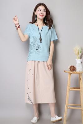 6611天蓝色上衣-米黄色裙子(长期主推)