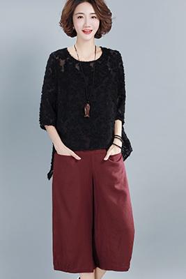 9106黑色上衣+红色+吊带黑色