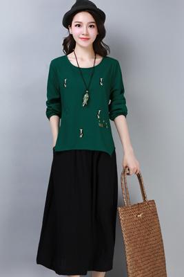 A8267墨绿色-黑色裤子