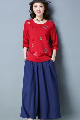 A8140红色上衣-藏青色裤子